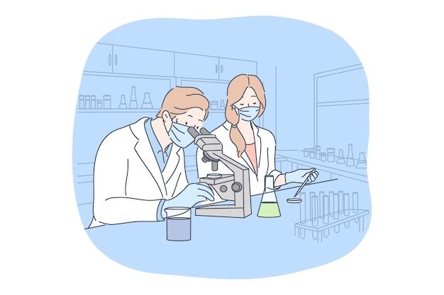科学、ウイルス、コロナウイルス、医学の概念。 covid19の医療用フェイスマスクテストワクチンの男性女性医師科学者チーム。科学的テスト学術研究2019ncov感染。