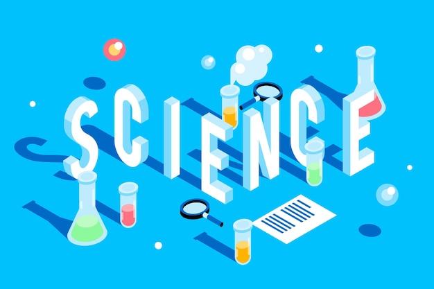Наука слово концепция в изометрическом стиле