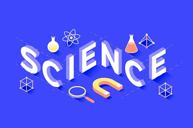 Science word concept in isometric design