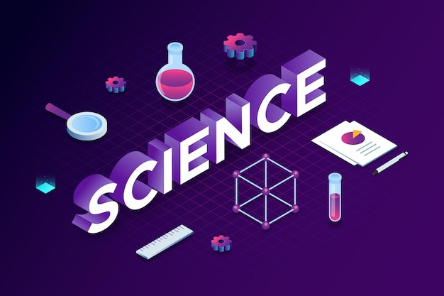 Science word concept in isometric style