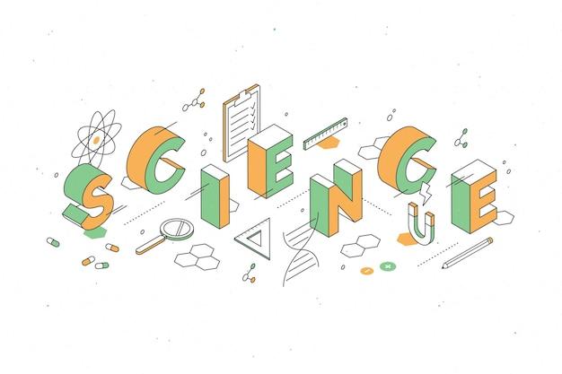 Concetto di parola di scienza in isometrico