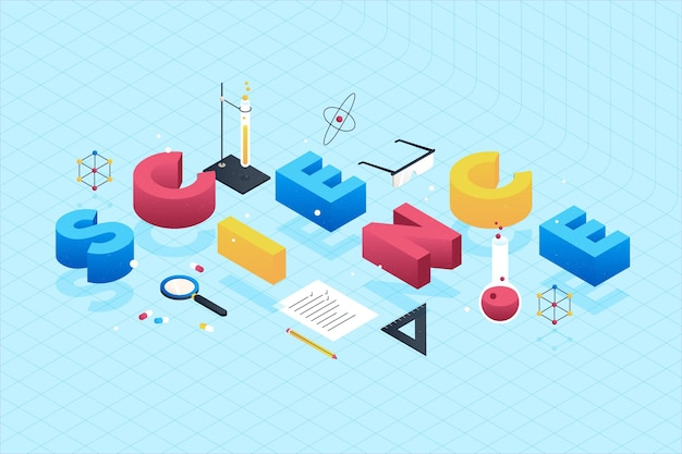 Science word concept in isometric