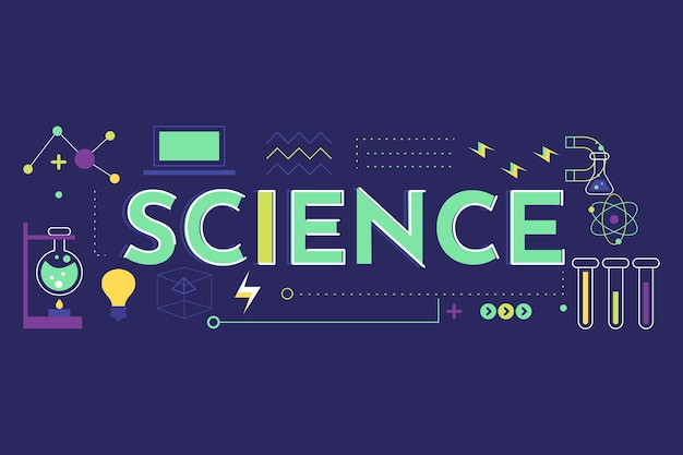Science word concept with elements set