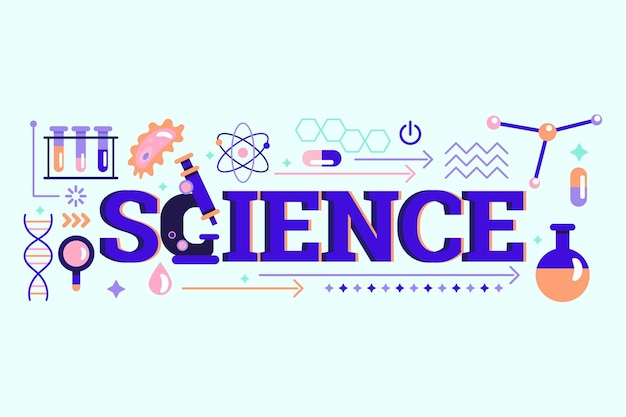 Science word concept with elements