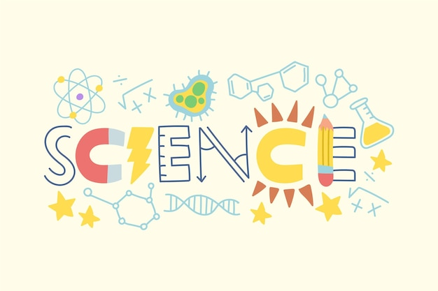 Science word made with different elements
