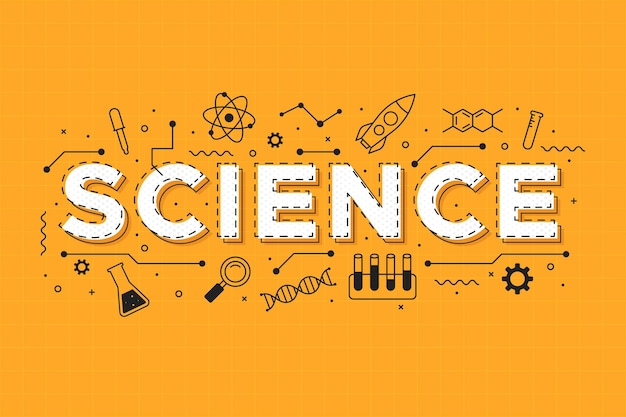 Science word on orange background concept