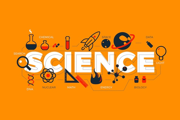 Science word with spaceship and planets