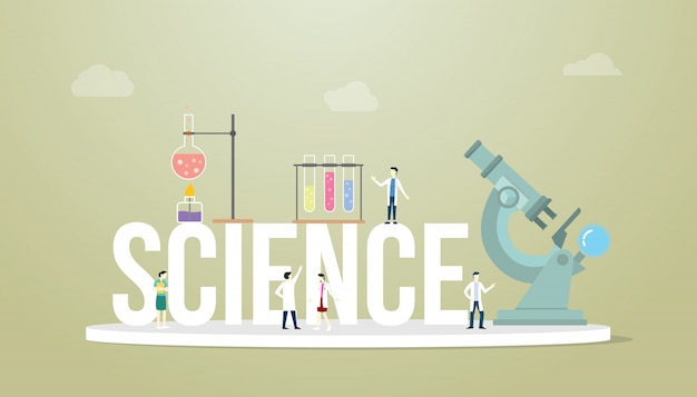 Science words concept with team people doctor laboratory tools with microscope and tube