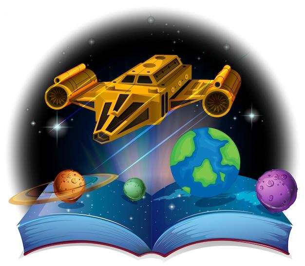 Sciene book with spaceship and solar system Premium Vector