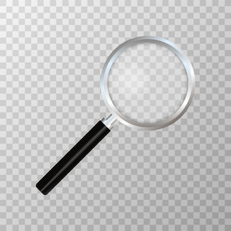 Реалистичная увеличительное стекло на прозрачной. символ поиска и осмотра. концепция бизнеса. sciene или школьные принадлежности.