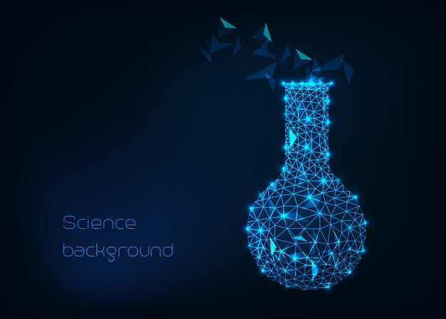 Scientific background with low poly wireframe beaker