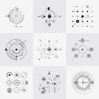 Scientific bauhaus technology circular grids vector set