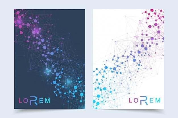 Шаблон дизайна научной брошюры. макет флаера, молекулярная структура с соединенными линиями и точками. научный образец атомной днк с элементами для журнала, листовки, обложки, плаката.