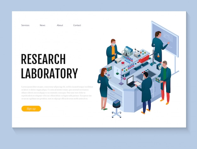 Scientific chemical laboratory with staff and research equipment isometric web banner on white