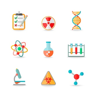 Scientific chemistry laboratory equipment of retort glass atom dna symbols icons set isolated vector illustration