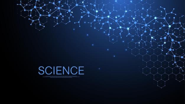Scientific coronavirus background for medicine, science, technology, chemistry. coronavirus wave flow dna. . Premium Vector