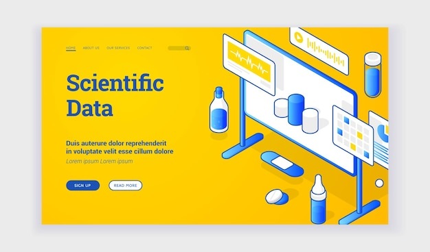 Scientific data. isometric vector front web page with elements of board and lab equipment presenting information to learn about contemporary scientific data. web banner, landing page template