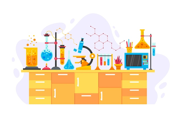 Scientific desk with chemistry objects