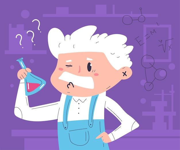 Научный эксперимент иллюстрации шаржа концепции с милым характером профессора.