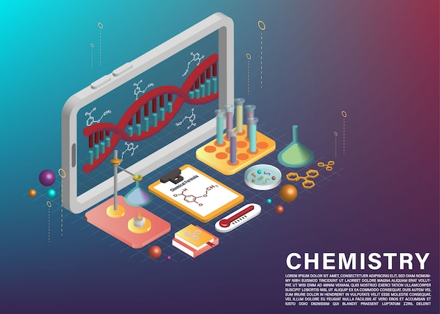 Scientific experiment and dna model element on cellphone application 3d