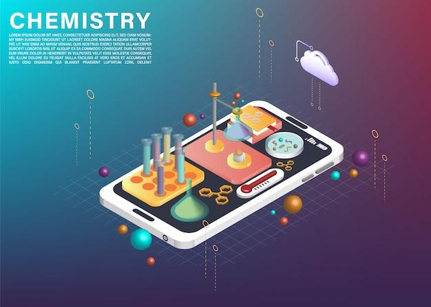 Scientific experiment element on cellphone application 3d