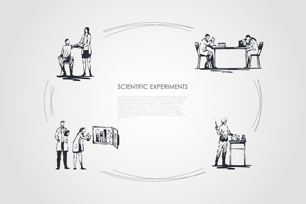Scientific experiment hand drawn cicle