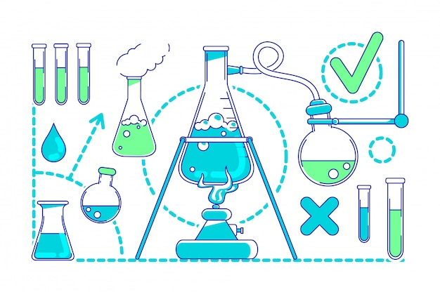 Scientific experiment thin line concept illustration