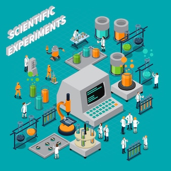 Scientific experiments isometric composition