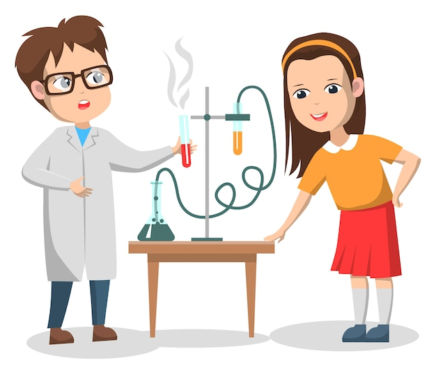 Scientific experiments of kids on chemistry lesson