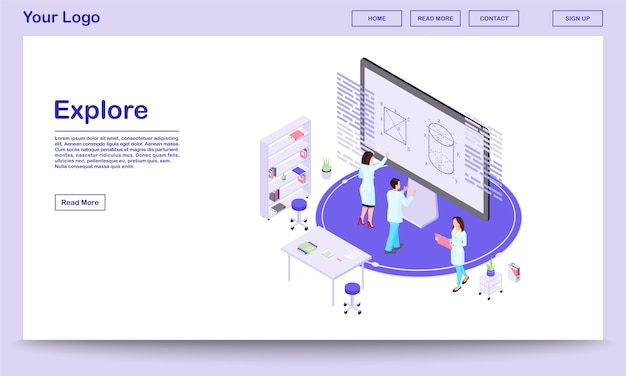 Scientific exploration isometric landing page template. cartoon mathematicians analysing data on interactive screen with augmented reality options. research lab workers. theorists studying 3d models