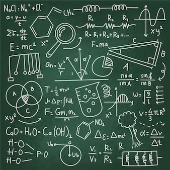 Scientific formulas on chalkboard concept