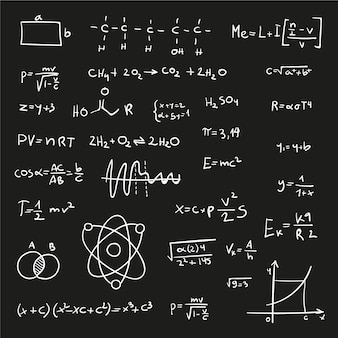 Scientific formulas on chalkboard in hand-drawn