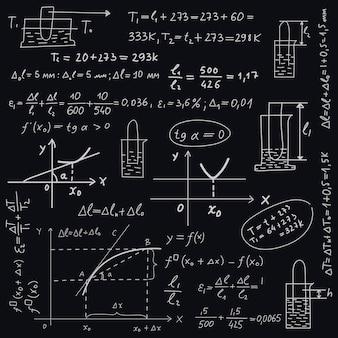 Scientific formulas on chalkboard