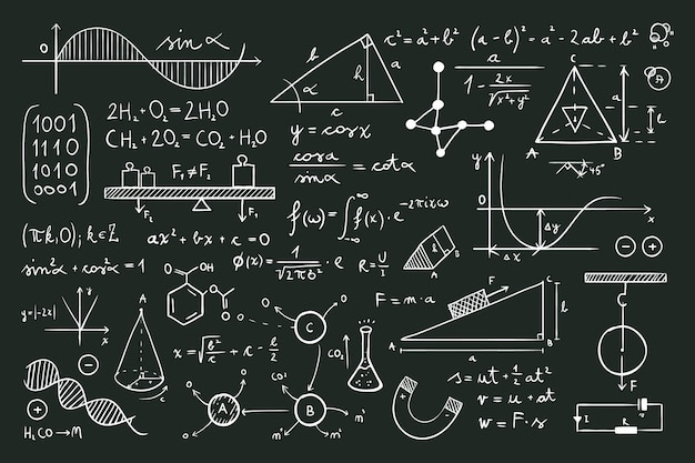 Scientific formulas on chalkboard