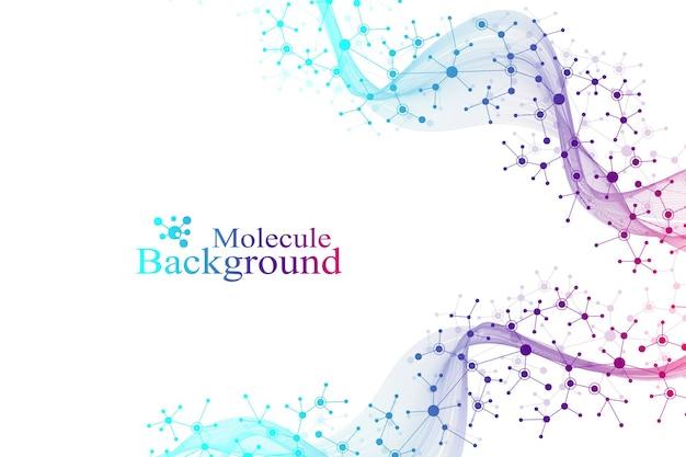 Научная иллюстрация генной инженерии и концепции генной манипуляции. спираль днк. абстрактная структура для науки или медицинского образования.