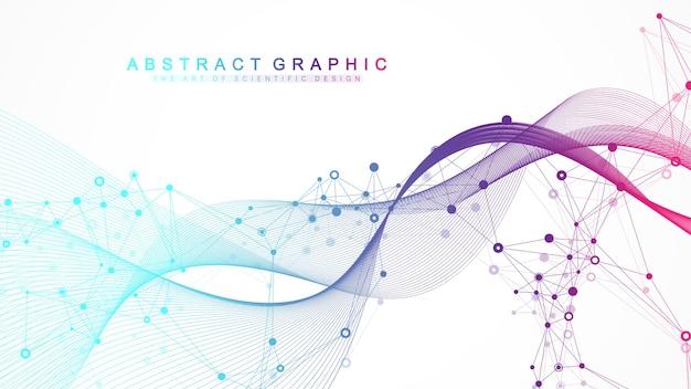 Научная иллюстрация генной инженерии и концепции генной манипуляции. спираль днк, цепь днк, молекула или атом, нейроны.