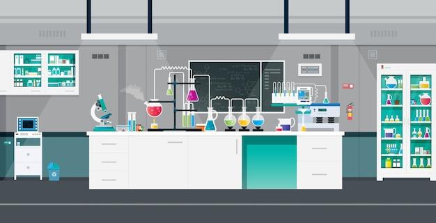 実験ツールと機器を備えた科学研究所