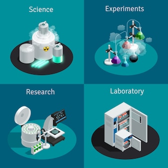 실험을위한 물질과 연구를위한 장비가있는 과학 실험실 2x2 아이소 메트릭 컨셉
