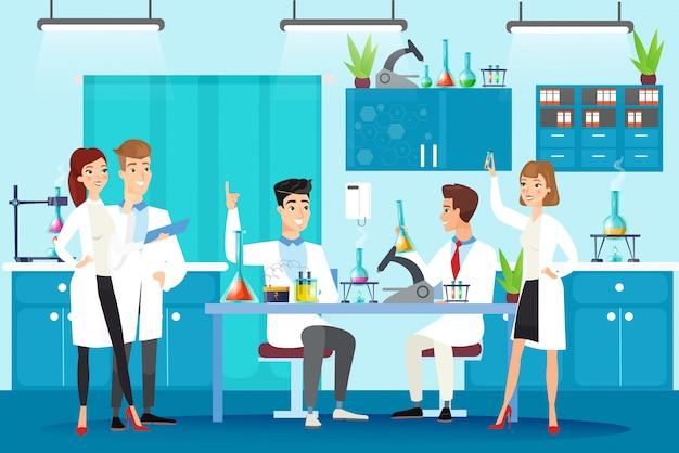 Scientific laboratory flat illustration. chemical lab experiment, study, research. people in white gowns, scientists at workplace working together characters in cartoon style.