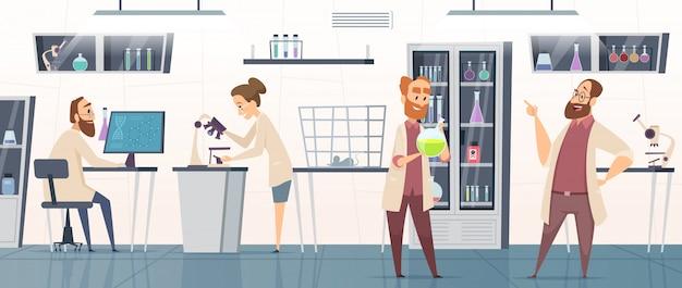 Научная лаборатория. интерьер современной химико-фармацевтической медицинской лаборатории с людьми, работающими на фоне инновационных технологий