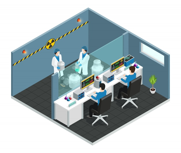 Scientific laboratory isometric concept with  assistants working in medical chemical or biological lab interior