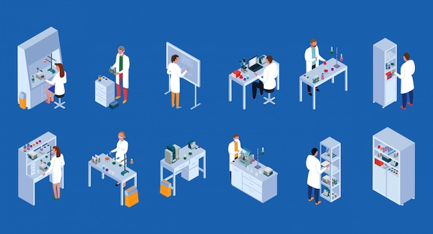 Scientific laboratory isometric icons set with staff during work equipment and furniture blue  isolated