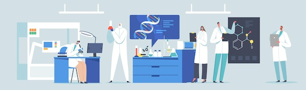 Scientific laboratory research or experiment process. scientists characters working with dna, looking through microscope, making notes. medicine genetic technology. cartoon people vector illustration
