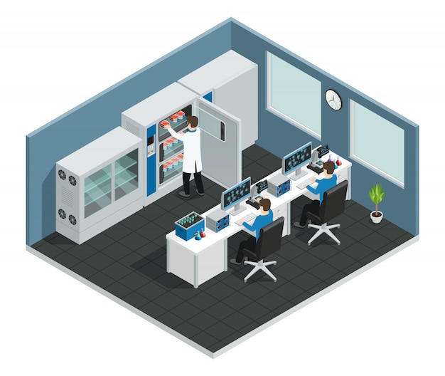 Scientific laboratory workplace concept with equipment for research and scientists looking at computer screen