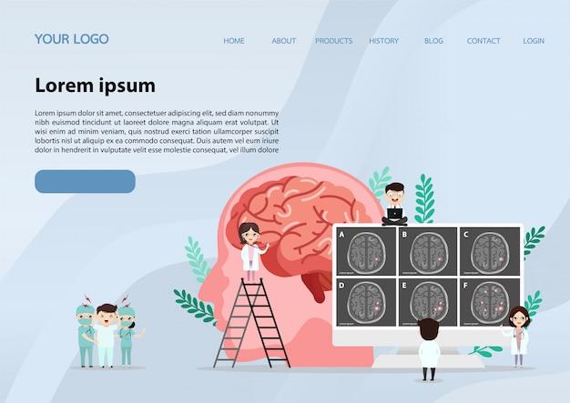 Scientific medical illustration of human brain stroke illustration