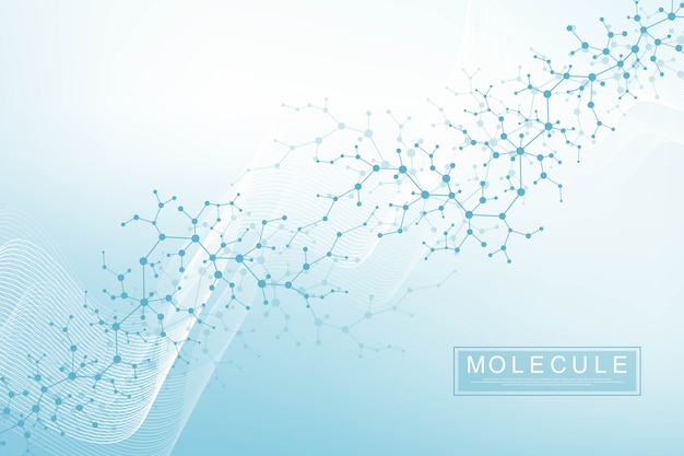 과학적 분자 배경 필드의 얕은 깊이와 dna 이중 나선 그림. dna 분자가있는 신비한 벽지 또는 배너. 유전 정보 벡터.