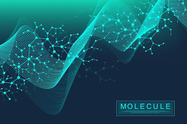 Scientific molecule background dna double helix vector illustration with shallow depth of field. mysterious wallpaper or banner with a dna molecules. health care and science innovation pattern.