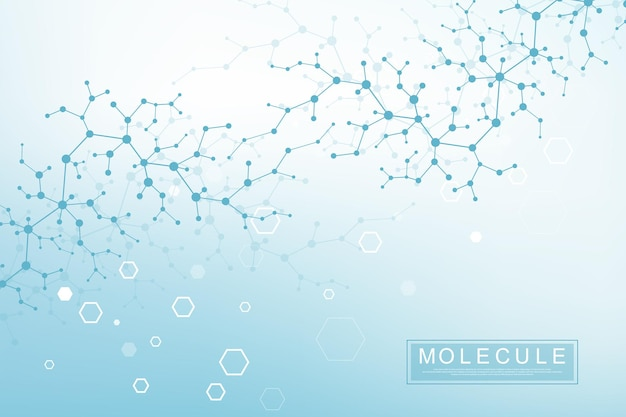 필드의 얕은 깊이와 과학 분자 배경 dna 이중 나선 벡터 일러스트 레이 션. dna 분자가 있는 신비한 벽지나 배너. 건강 관리 및 과학 혁신 패턴입니다.