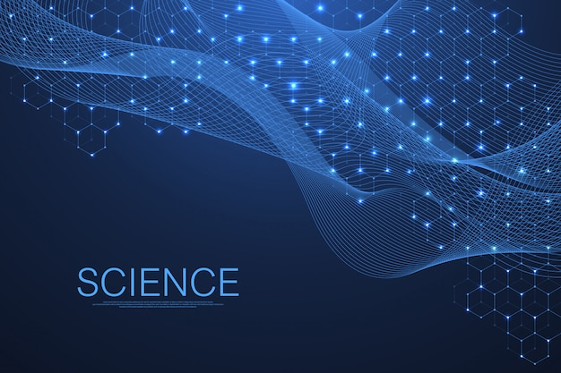 科学的分子背景dna二重らせん被写し界深度が浅い。神秘的、またはdna分子と一緒に。ヘルスケアと科学の革新パターン。