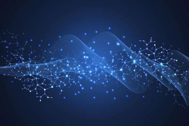 의학, 과학, 기술, 화학에 대한 과학적 분자 배경. dna 분자가 있는 과학 템플릿 벽지 또는 배너입니다. 다이나믹 웨이브 플로우. 분자 벡터 일러스트 레이 션.
